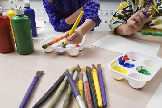 Elementary Students Painting