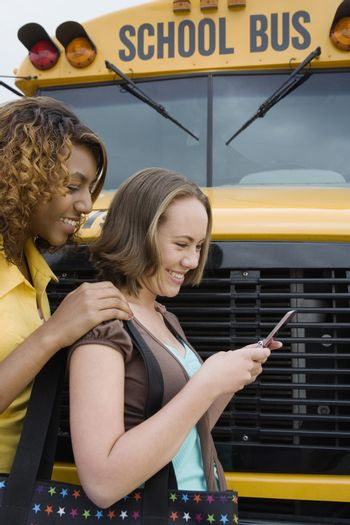 Students Text Messaging by School Bus