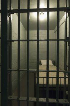 Interior of empty prison cell