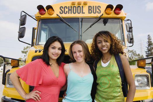 Teenage Girls by School Bus