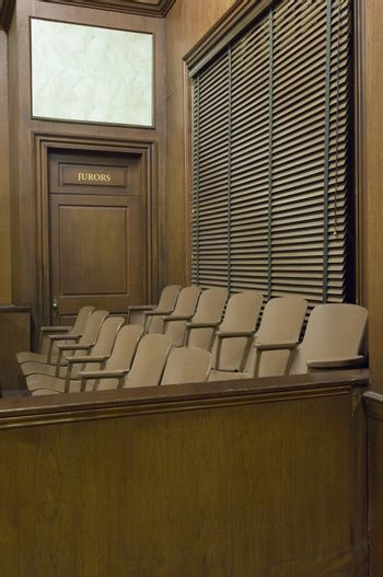Juries seating area in courtroom