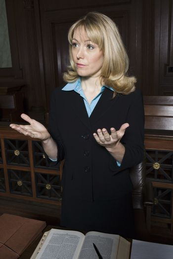 Woman standing in court