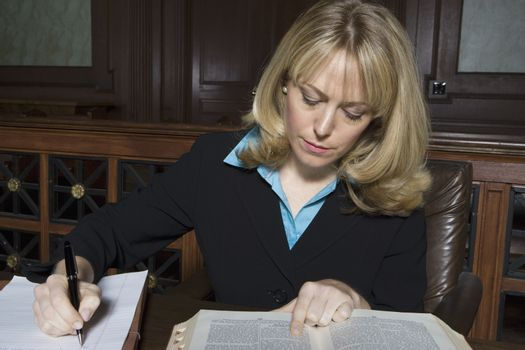 Woman working in court