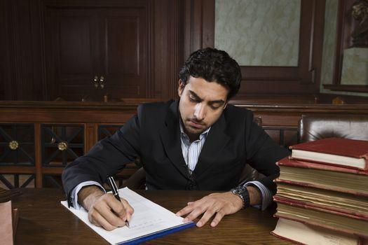 Man working in court