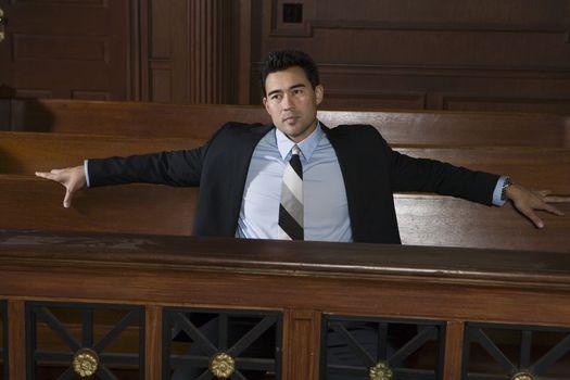 Man sitting in court