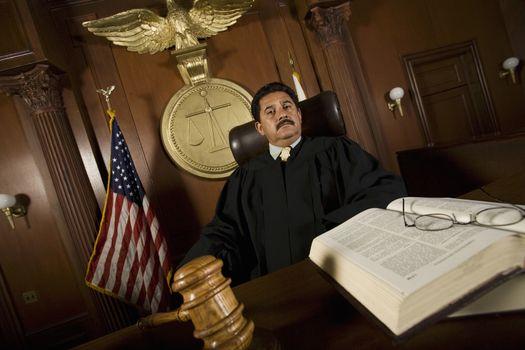 Judge sitting in court