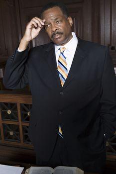 Man standing in court