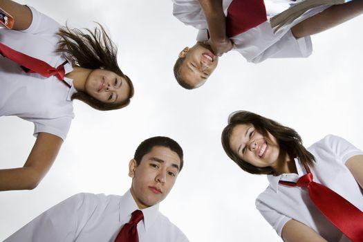 High School Students Looking Down