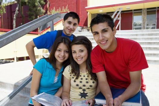 High School Students on Steps of School