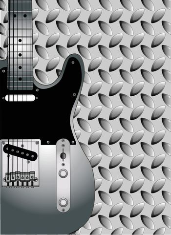 A metal tread background patern of faded steel for an electric guitar.