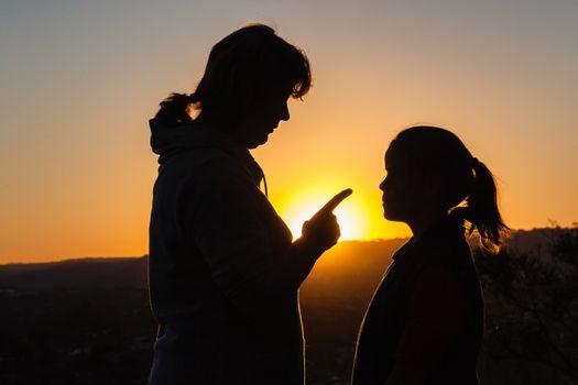 Mother Daughter Discipline Sunset
