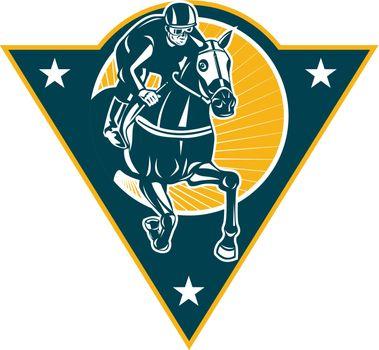 Equestrian Horse Racing Jockey Retro