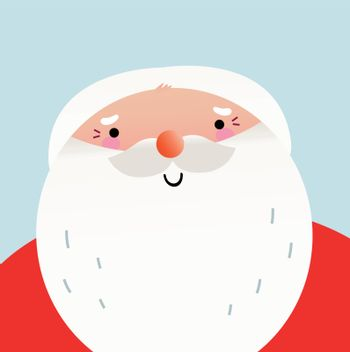 Happy Santa Claus face. Vector Illustration