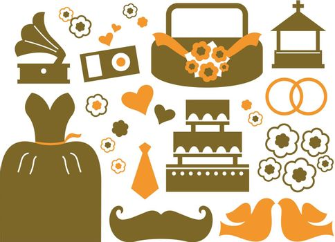 Wedding icons and design elements. Vector