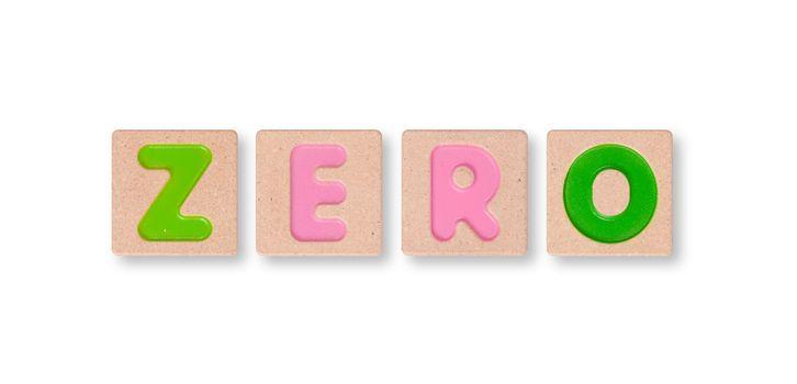 Wording zero isolated on white background