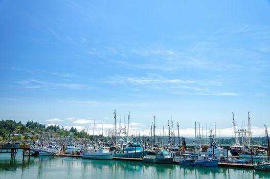 Boats in Yaquina Bay in Newport, Oregon