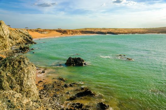 Bay in the Caribbean Sea in dry desert region of Colombia