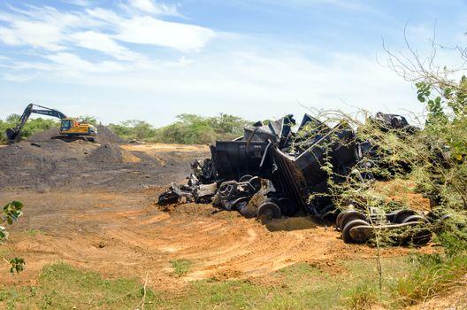 LA GUAJIRA, COLOMBIA - NOVEMBER 14: Train wreckage from a bombing on November 14, 2013 in La Guajira, Colombia