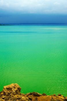 View of vibrant green Caribbean Sea in La Guajira, Colombia