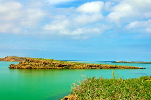 View of several islands in the Caribbean Sea near Punta Gallinas in La Guajira, Colombia