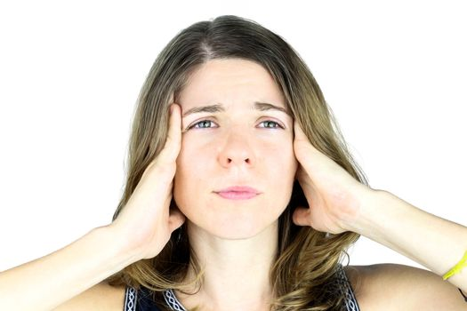 A young woman struggling with a migraine headache