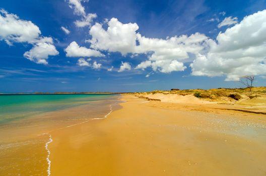 Wide deserted beach in La Guajira, Colombia