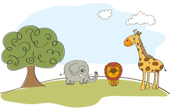 cute animals in the forest, vector illustration