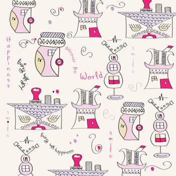 seamless pattern with surreal houses