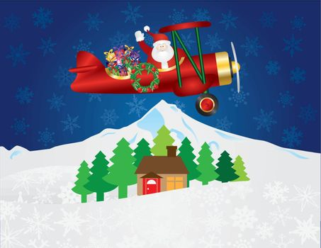 Santa Claus Waving on Biplane Delivering Wrapped Presents Flying Over Winter Snow Scene at Night Background Illustration