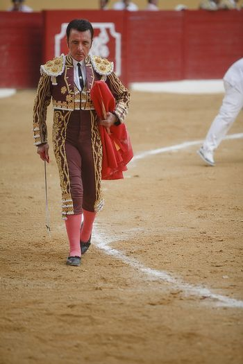 The spanish bullfighter with the Cape in the Bullfight in Atarfe coliseum, Atarfe, Granada province, Spain 25 july 2009