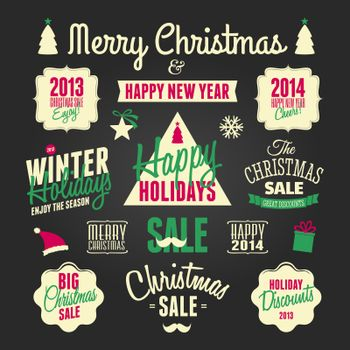Chalkboard Christmas Design Elements