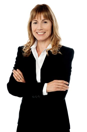 Confident smiling corporate woman