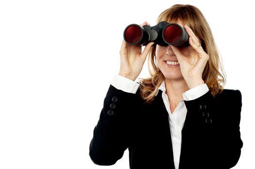 Corporate woman hunting success