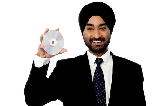 Cool manager showing compact disc