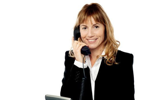 Professional woman answering phone call