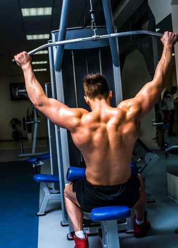 bodybuilder with simulator