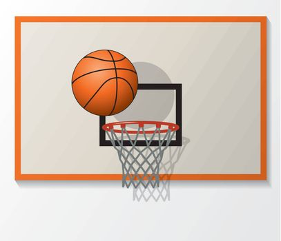 vector basketball net and backboard set, ball dunk in the hoop