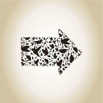 Arrow made of birds. A vector illustration