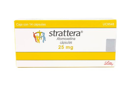Atomoxetine (brand name: Strattera) is a drug approved for the treatment of attention-deficit hyperactivity disorder (ADHD)