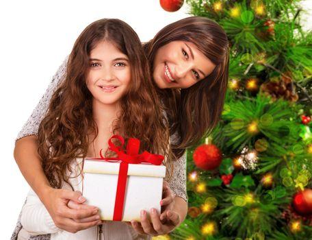 Happy family celebrate Christmas