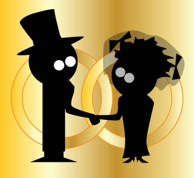 Silhouette of a cartoon bride and groom with wedding rings.