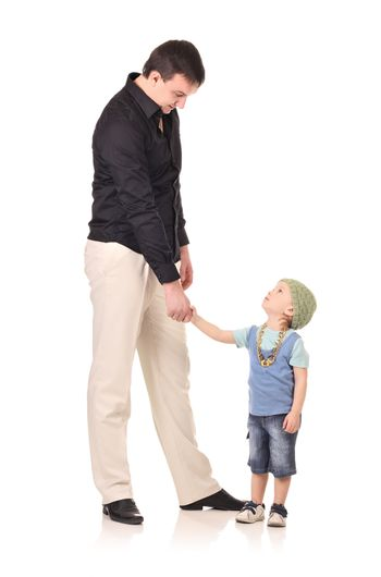 Man and little boy shaking hands isolated on the white