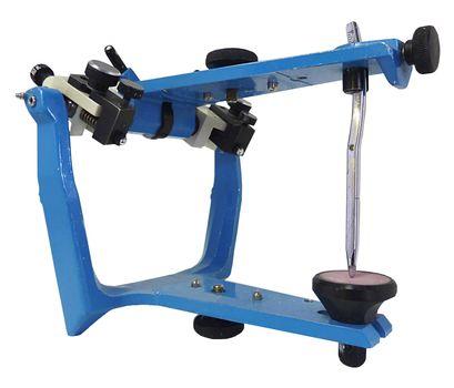 Blue metallic articulator used in dentistry