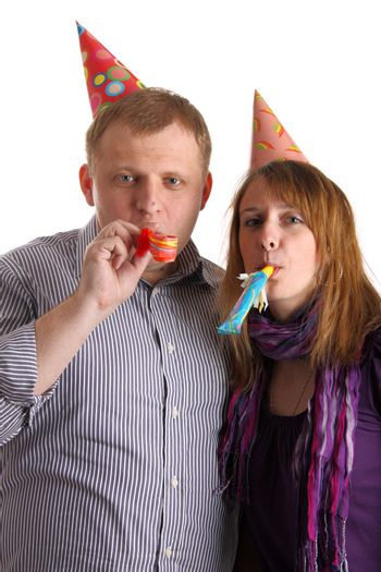 Two people with horns isolated on the white background