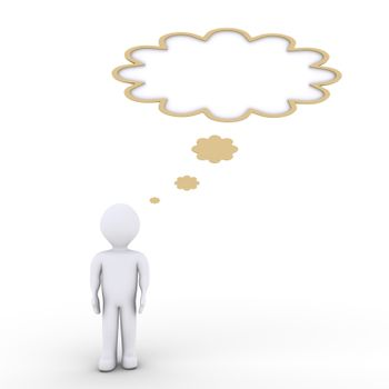 A person is thinking and a speech bubble