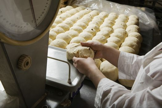 Baker Weighing Balls of Bread Dough