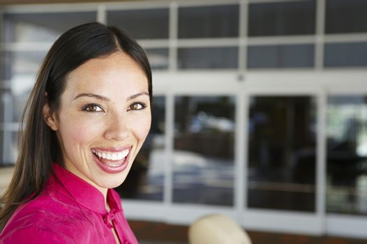 Portrait of a cheerful woman