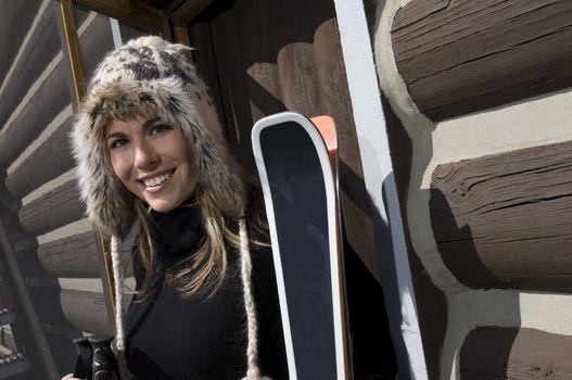 Skier Wearing Fur Ski Hat