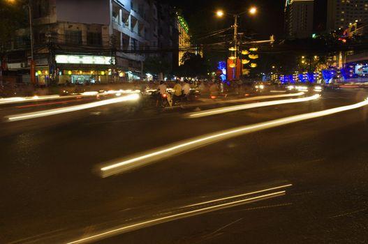 Traffic Light Trails in City