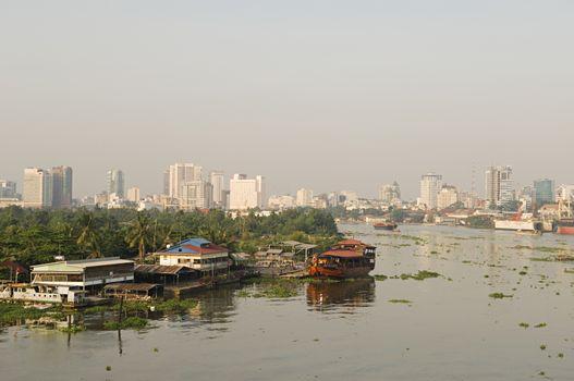 City Skyline Along River